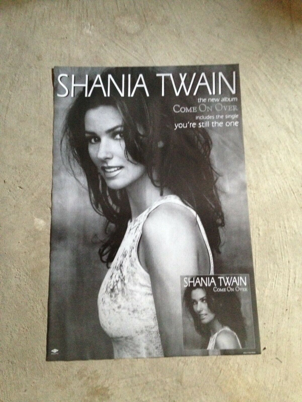 shania twain poster print 24x36 come on over black and white country music