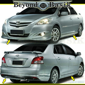 toyota yaris trd spoiler perbedaan grand new avanza e dan g 2017 2007 2012 4pc front rear bumper side skirts style body kit image is loading