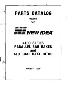 New Idea Parts Catalog 4100 Series Parallel Bar Rakes and
