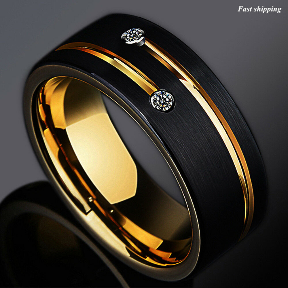 86mm Black Tungsten Carbide Thin Red Line Wedding Band Ring ATOP Mens Jewelry  eBay