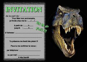 details sur 5 ou 12 cartes invitation anniversaire dinosaure t rex ref 391