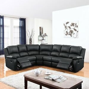 large plush sectional sofa reclining raleigh nc traditional bonded leather corner image is loading
