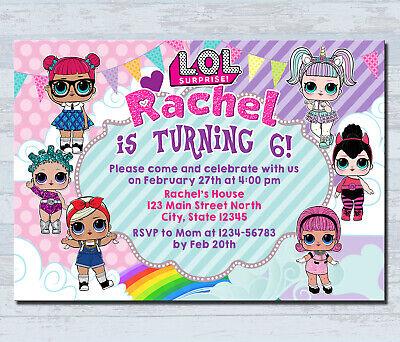personalized lol doll invitations kids birthday invitation party invites card ebay