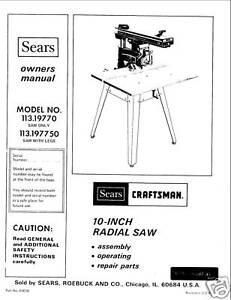 Craftsman Radial Arm Saw Manual Download