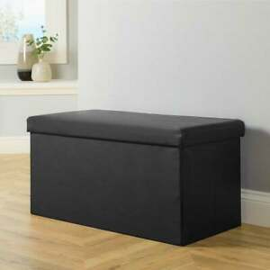 details about large cream white black brown leather ottoman storage box footstool toy storage
