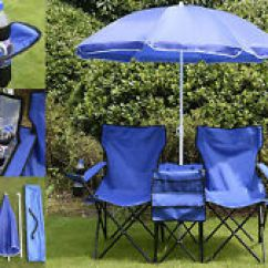 Fishing Chair Umbrella Clamp Linden Stand Folding Portable With On Patio Picnic Item 3 Double Set Outdoor Seats Blue Us