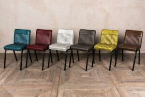 industrial style dining chairs chair cover hire worcester ribbed range of colours leather look image is loading