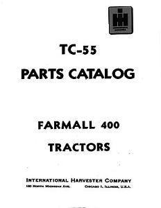 Farmall International 400 Tractor Parts Catalog Book