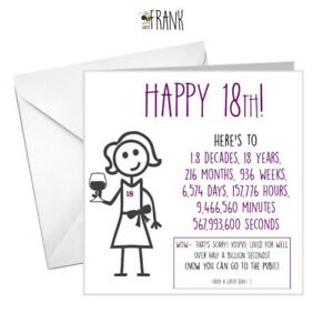 details about funny rude cute sarcastic comedy banter 18th birthday card for her