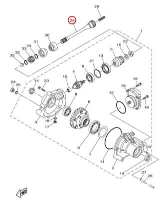55% Yamaha 2009-2011 Grizzly 550/700 FI 4WD Drive Shaft 2