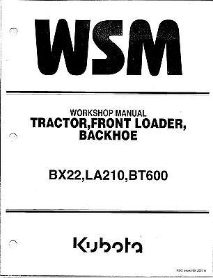 Kubota BX22,LA210,BT600 Workshop Service Repair Manual
