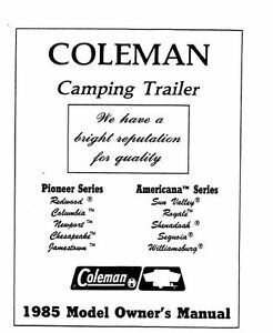 COLEMAN Popup Trailer Owners Manual-1985 Pioneer