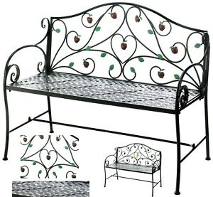 Order 35 days COUNTRY APPLE IRON GARDEN BENCH SEAT CHAIR