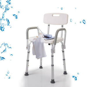shower chair with back and armrests antique wooden styles medical bath adjustable bench stool seat w detachable image is loading