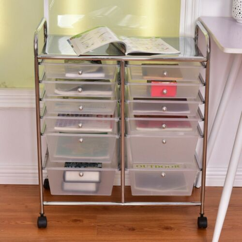 Storage Bins Baskets White 12 Drawer Organizer Cart Chrome Frame Rolling Storage Craft Office Utility Home Garden Vibranthns Lk