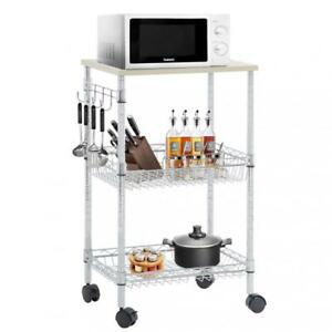 rolling cart for kitchen salvaged cabinets utility wire 3 tier organizer nsf on image is loading