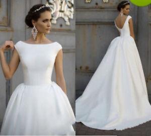 WhiteIvory Satin A line Wedding Dresses Cap sleeve Bridal