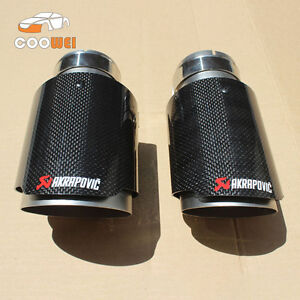 details about 2 akrapovic glossy carbon fiber exhaust muffler tip 63 101mm universal tail pipe