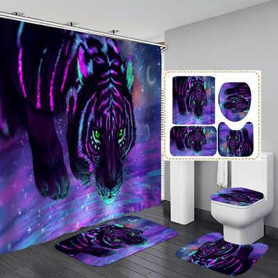 purple tiger art shower curtain bath mat toilet cover rug bathroom decor ebay