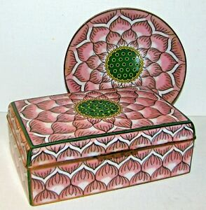 Antique Fine Chinese Cloisonee Box & Plate Rare Lotus Water Lily Pattern