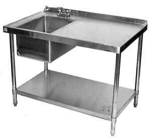 steel kitchen table magazines 30x72 all stainless with prep sink on left ebay image is loading