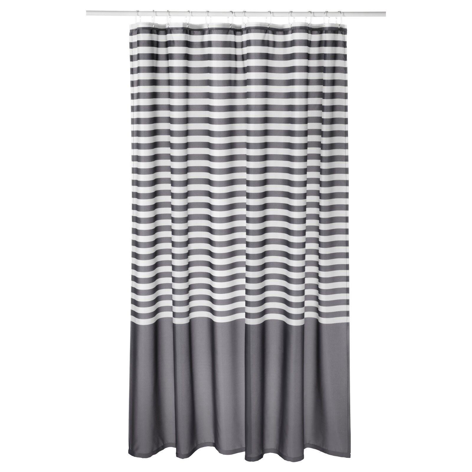 New Ikea Vadsjon Vadsjon Dark Grey White Gray Striped Shower Curtain Bathroom