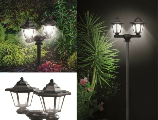 3 in 1 dual solar lanterns powered outdoor lights lamp pole stake or wall mount