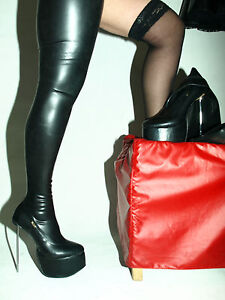 Image Is Loading High Heels Latex Rubber Fetish Boots Size 4