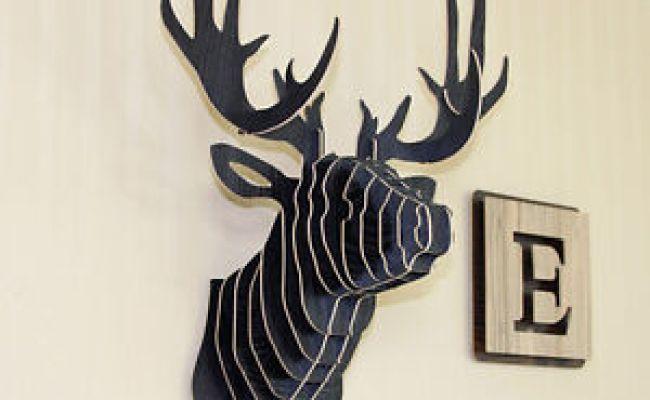 Wooden Big Carving Deer Head Diy Wall Hanging Mount Art