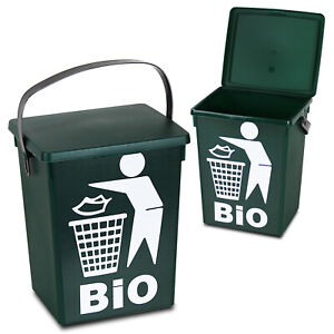 small recycling bins for kitchen corner curio cabinet 5 litre table top food bin recycle waste image is loading