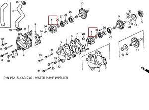 HONDA OEM WATER PUMP IMPELLER CR125/CR250 19215-KA3-740