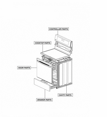 LG Oven Range Drawer Parts Assembly 383EW0N001W (see