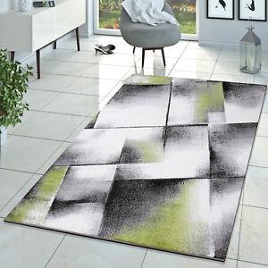 Designer Teppich Wohnzimmer Modern Kurzflor Teppich Meliert Grn Creme Grau  eBay