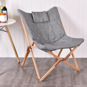 Folding Butterfly Chair Seat Wood Frame Home Office
