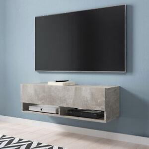 details sur meuble tv a suspendre et a poser wander 100 cm blanc gris chene wotan beton