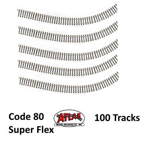 Atlas 2500 N Code 80 Super-Flex Track (100) (Black Ties