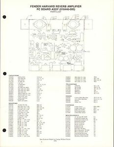 MISC-2033 1980s FENDER HARVARD REVERB AMPLIFIER PARTS LIST