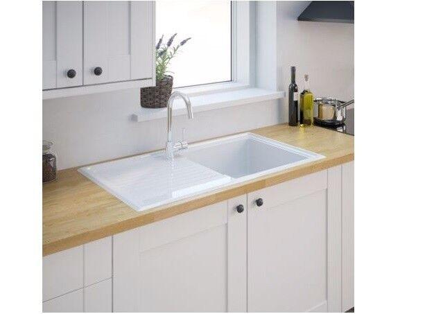 burbank 1 bowl gloss white ceramic kitchen sink and drainer b