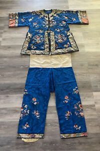 Antique Chinese Silk Robe Pants Qing / Republic Period