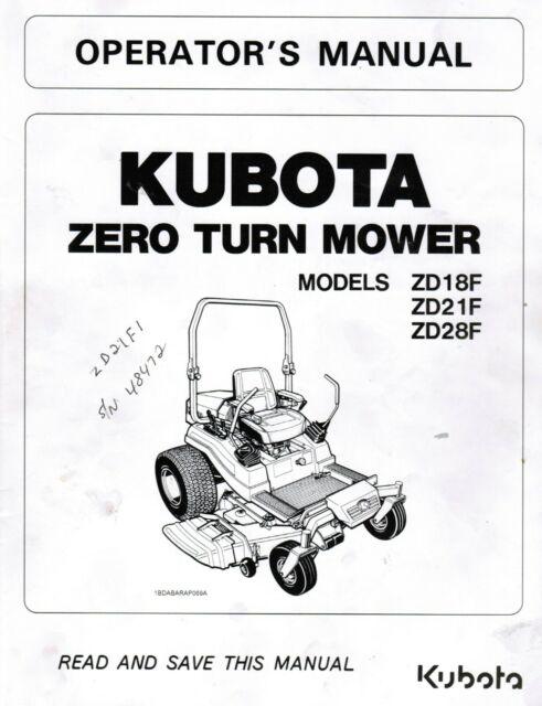 Kubota Zd1511 Zero-turn Mower Operator Manual K3458-71250