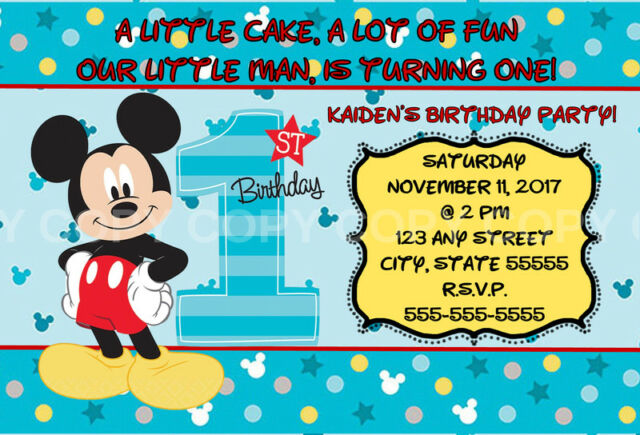 disney mickey mouse fun to be one 1st birthday invitation 8 pk personalized
