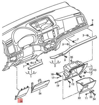 Genuine VW SEAT Sharan Cover For Fuse Holder Titan Black