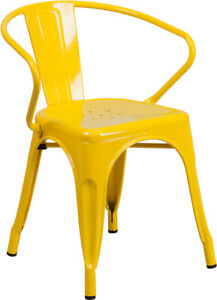 industrial bistro chairs royal alliant chair style yellow metal restaurant outdoor cafe image is loading