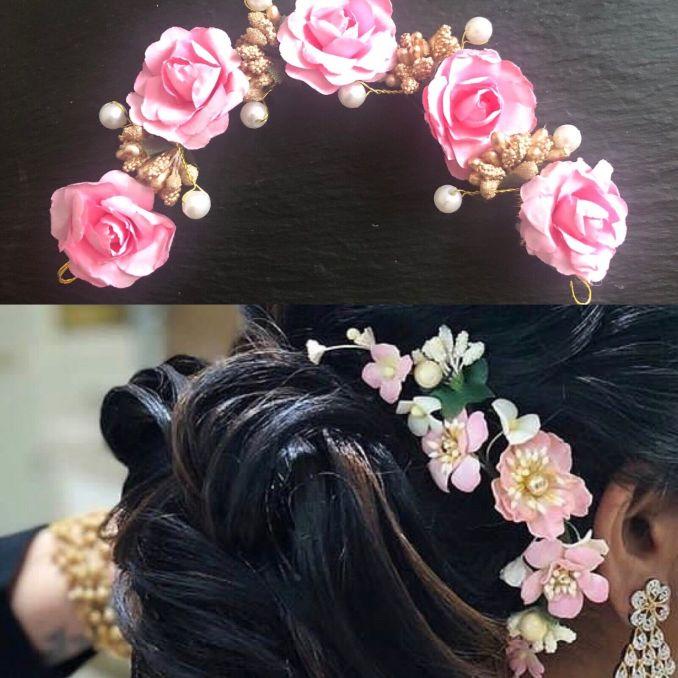 light pink hair gajra floral veni artificial flowers indian hair band tiara