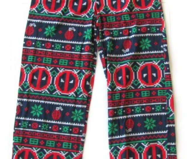 Marvel Deadpool Ugly Christmas Sweater Lounge Pants Mens Small   New
