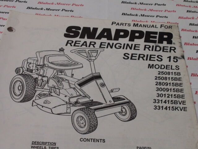 06095 Snapper Series 15 Rear Engine Rider Parts Manual for
