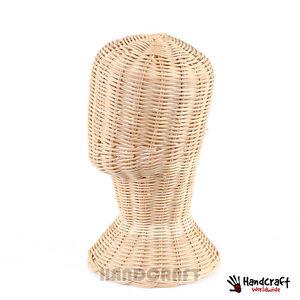 mannequin chair stand leg protectors for hardwood floors 12 vintage wig head display rattan wicker hat image is loading 034