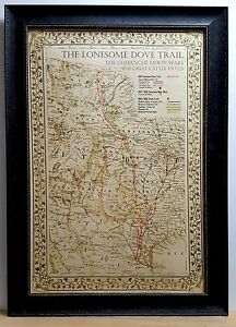 Framed Texas Map : framed, texas, ANTIQUE, TEXAS, FRAMED, Lonesome, Dove~Comanche, Moon~Great, Trails