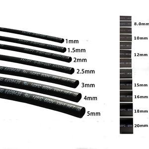 Black Dia.1/2/3/4/6/8/10/20/25mm Heat Shrinkable Tube