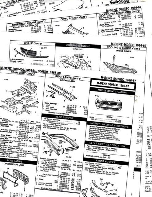 1986 1987 MERCEDES BENZ 560SEC 560 SEC BODY PARTS LIST